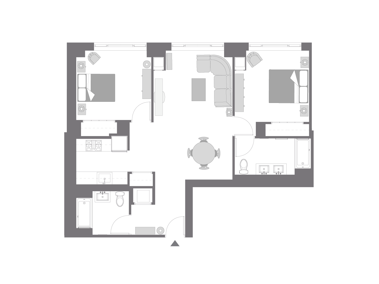 Floor plan with furniture